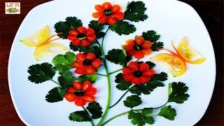 Beautiful Shrub Roses & Butterflies Made from Tomato with Cilantro Decoration Designs!