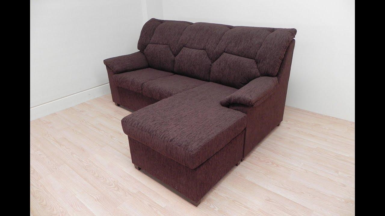 sofa chaiselongue tapizado marr n o gris de salon comedor rinconer c modo y econ mico youtube ForSofa Moderne Marron Gris