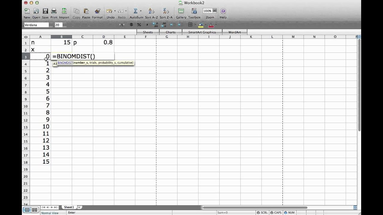 Computing the Binomial Distribution with Excel