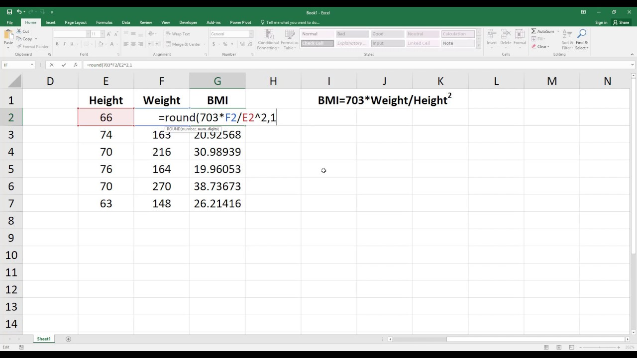 How To Calculate Body Mass Index Bmi In Excel Hd -3612