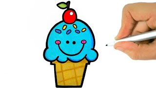 HOW TO DRAW A CUTE ICE CREAM EASY STEP BY STEP