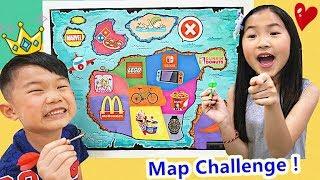 地圖挑戰!逛街買東西 麥當勞 冰淇淋u0026電子遊戲機~親子互動Throwing a Dart at a Map u0026 BUYING Whatever it Lands on!!!Challenge~