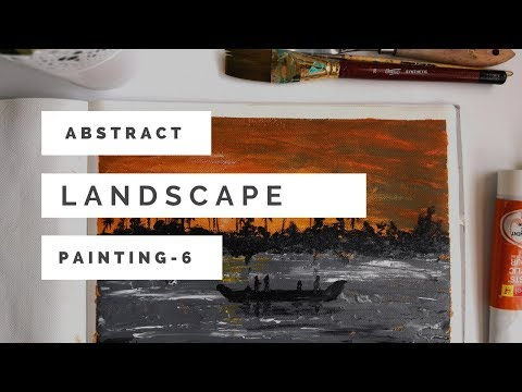 Painting a beautiful Kerala sunset |Quick and easy abstract landscape painting for beginners