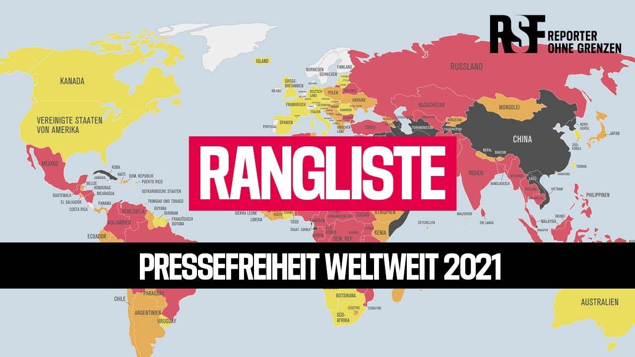 Pressefreiheit Weltweit   Rangliste der Pressefreiheit 20   Reporter ohne  Grenzen