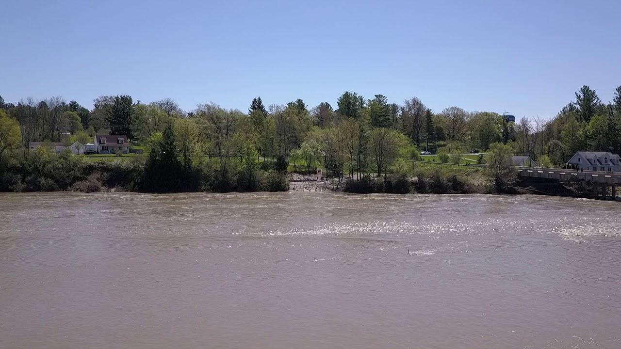 Edenville Michigan Dam Breach - Flooding Aftermath -  Drone
