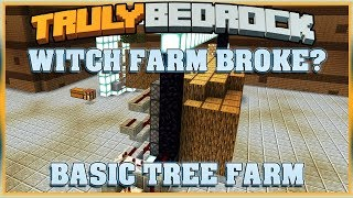 Truly Bedrock S1E35 Witch Farm Checkup & Basic Tree Farm | Minecraft Bedrock Edition SMP, MCPE, MCBE