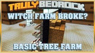 Truly Bedrock S1E35 Witch Farm Checkup & Basic Tree Farm | Minecraft Bedrock Edition SMP, MCPE, MCBE