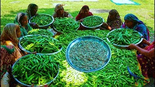 80 KG Farm Fresh Lady's Finger & Shrimp Mixed Curry Cooking - Easy But Tasty Village Food Recipe