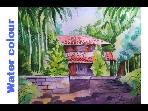 Watercolour Landscape painting | Beautiful village house | step by step