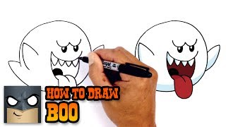 How to Draw Boo | Super Mario Bros
