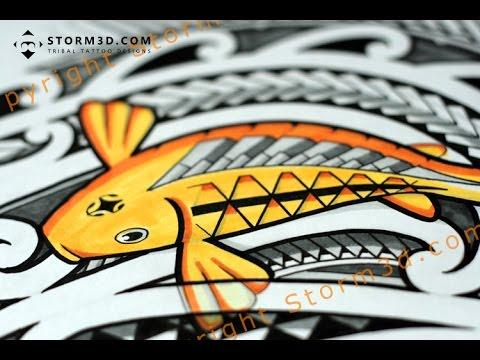Drawing A Polynesian Tribal Tattoo With Koi Fish