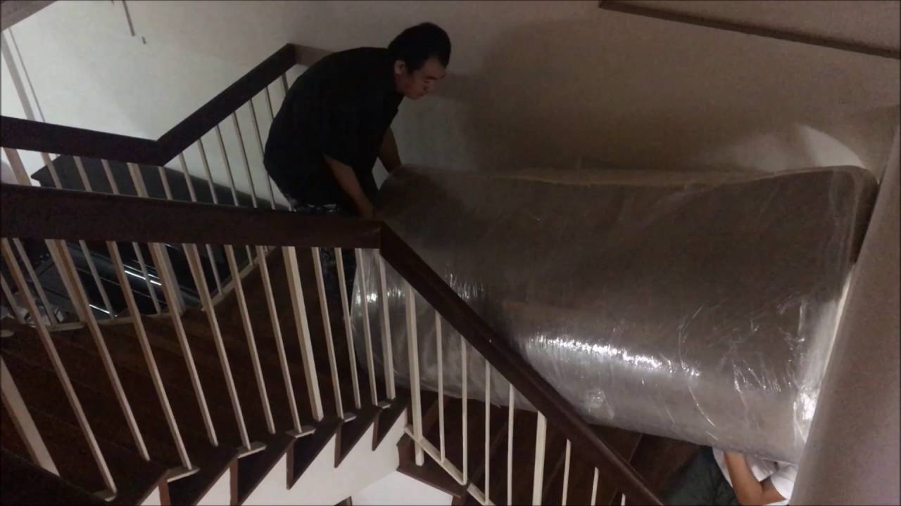 moving king size bed down the stairs youtube