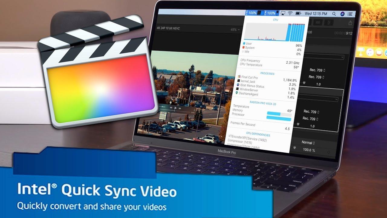 Intel Quick Sync Video в Final Cut Pro X на MacBook Pro 2018 с Radeon Pro  Vega 20