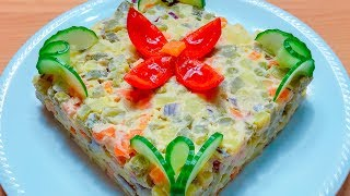 """Постный салат """"Оливье"""" на постном майонезе из фасоли. Вкуснее не бывает!"""