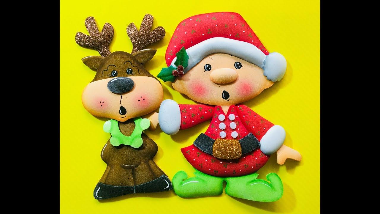 Duende y reno navide o paso a paso craft diy manualidad navidad en foamy goma eva microporoso - Manualidades de navidad paso a paso ...