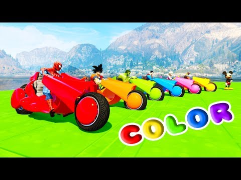 Thumbnail: LEARN COLORS HOWER BIKE BOATS & Cars w/ SUPERHEROES Fun Animation For Children And Babies