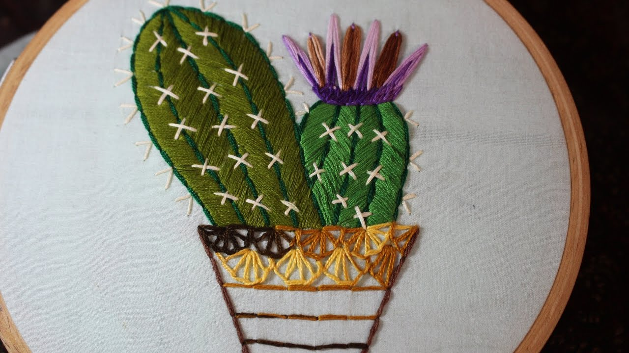 Hand embroidery designs cactus design stitch and