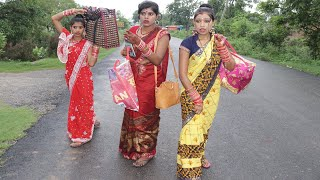 देखिए लॉकडॉन में तीनो गोतिनी शादी में जाते समय गाड़ी नही मिला तो रोड पर कैसे फश गई , Jilo Bhojpuriya