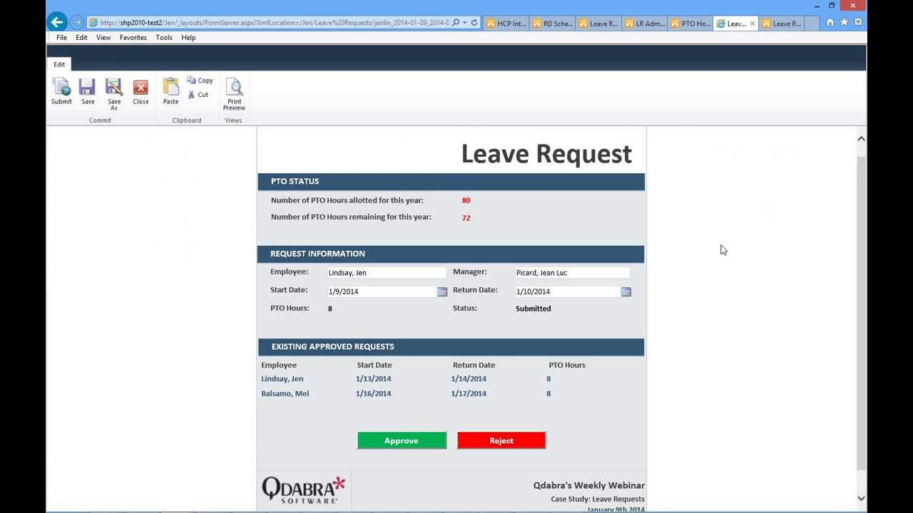 Infopath Sharepoint Leave Request Forms Jan 9 2014