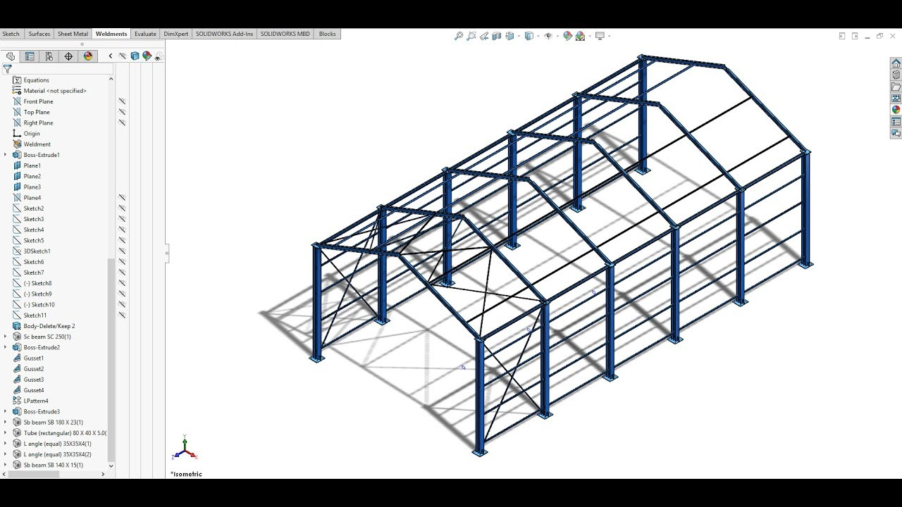 Industrial Shed Design 10 20 M Span Using Solidwork As Per Is875