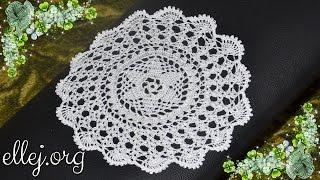 ♥ Белая салфетка крючком • Как связать салфетку 24 см • How to crochet doily
