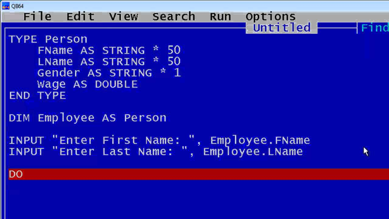 QBasic Tutorial 44 - Type Example - QB64