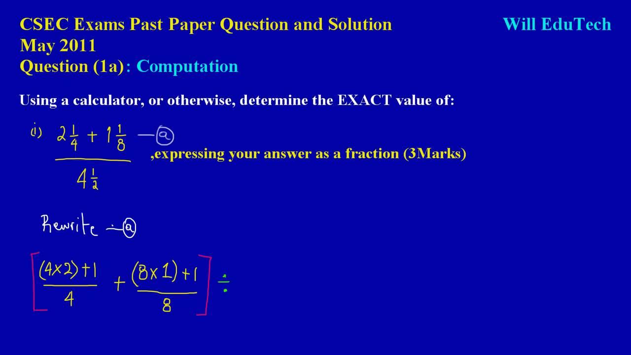 CSEC CXC Maths Past Paper Question 1a (i) May 2011 Exam ...