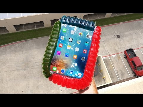 Can World's Largest Gummy Worm Protect iPad Air from 100 FT Drop Test?