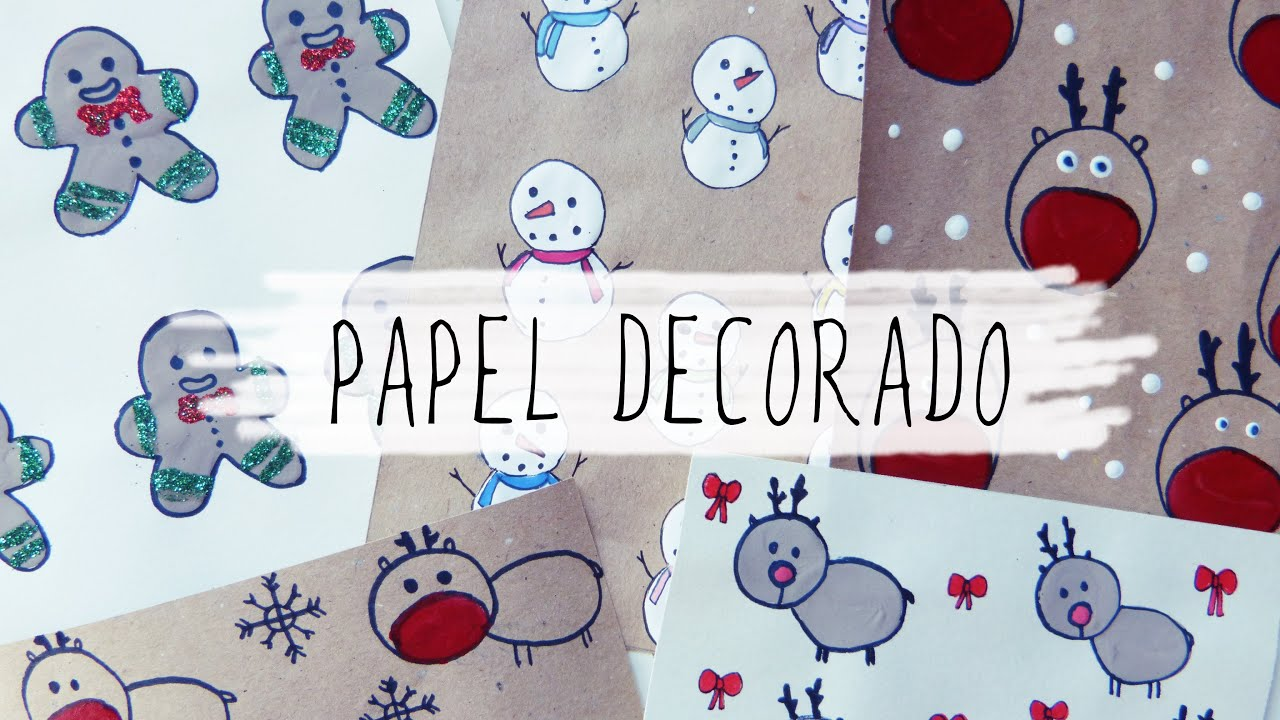 C mo hacer papel decorativo para regalo y tarjetas de navidad youtube - Papel autoadhesivo decorativo ...