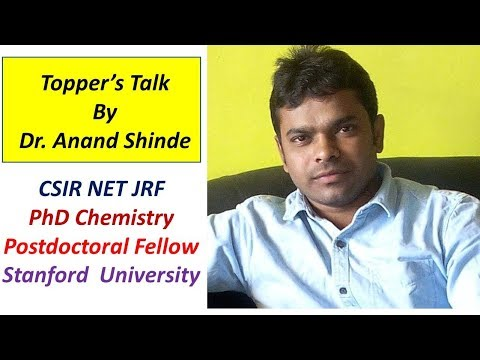 Toppers talk. Dr Anand Stanford University (PhD Organic chemistry)