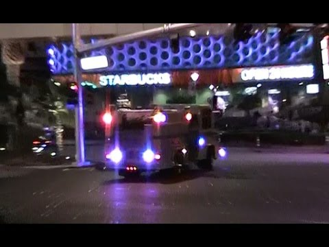 Engine & ambulance response on Las Vegas strip | E32 CCFD & AMR [NV | 7/19/2011]
