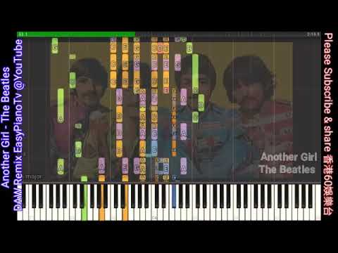 Another Girl The Beatles   Synthesia EasyPianoTv Piano Tutorial DAW Music Remix Visualization Learn thumbnail