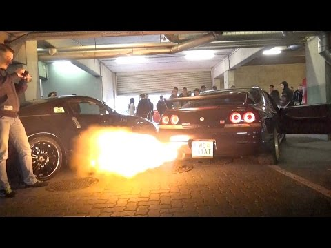 JDM Car Meet in Austria – 2JZ Supra Anti Lag FLAMES, Supercharged LS2 Corvette Burnout & much more!