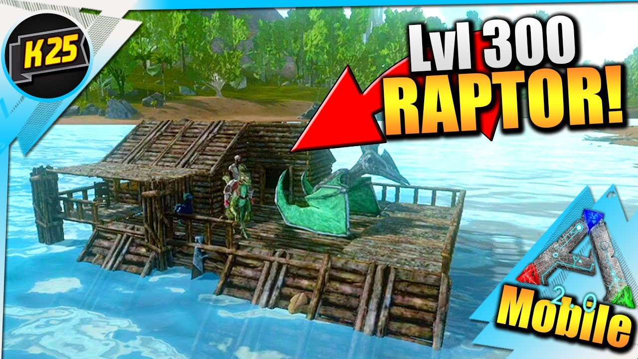 Starter Raft Base & A MAX LEVEL Raptor Tame|RAFT 2.0 Survival Ep2 W/Kamz25|Hard Ark Mobile