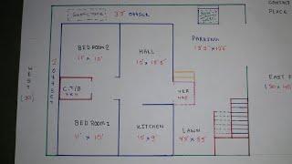 30 × 40 East Face House Plan map naksha