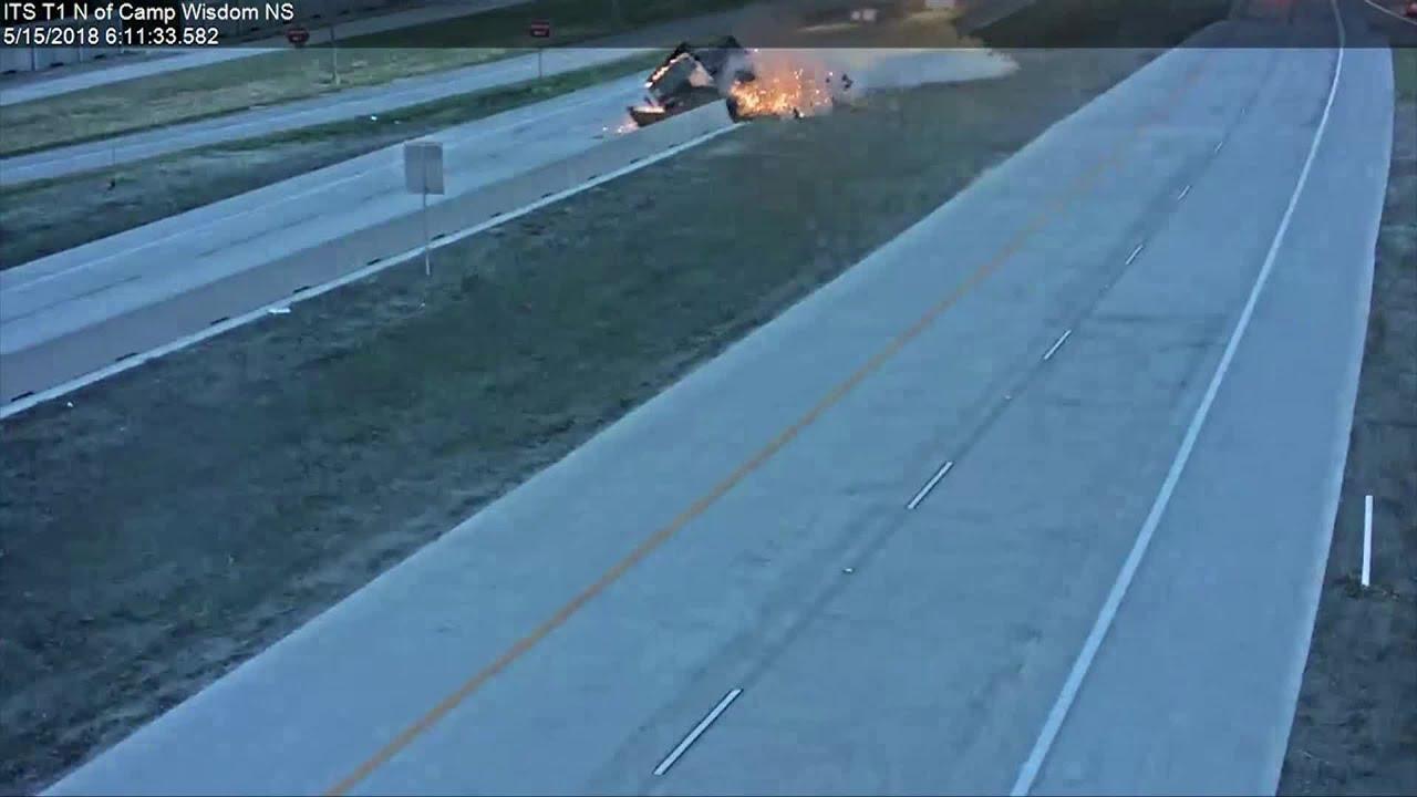 Caught On Tape: Fiery Dump Truck Crash On Highway 360
