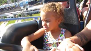 Alisya (8 years old) on the Scream roller coaster Ride at 6 Flags for the first time