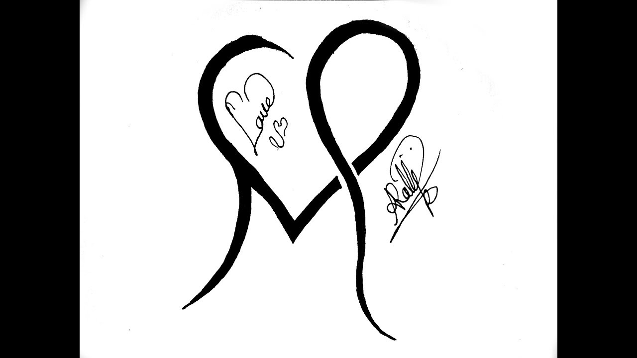 Tattoo Design                              combining letter M & heart