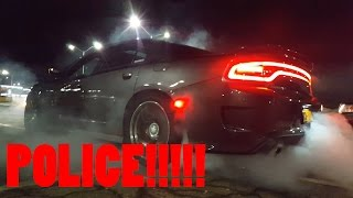 2016 SRT charger does burnout and evades police at car meet!!