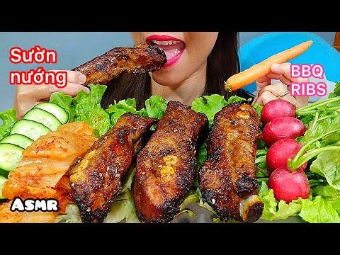 ASMR EATING RIBS, KIMCHI & VEGETABLES/ ăn Sườn Heo Nướng/ 먹방 Real Sounds