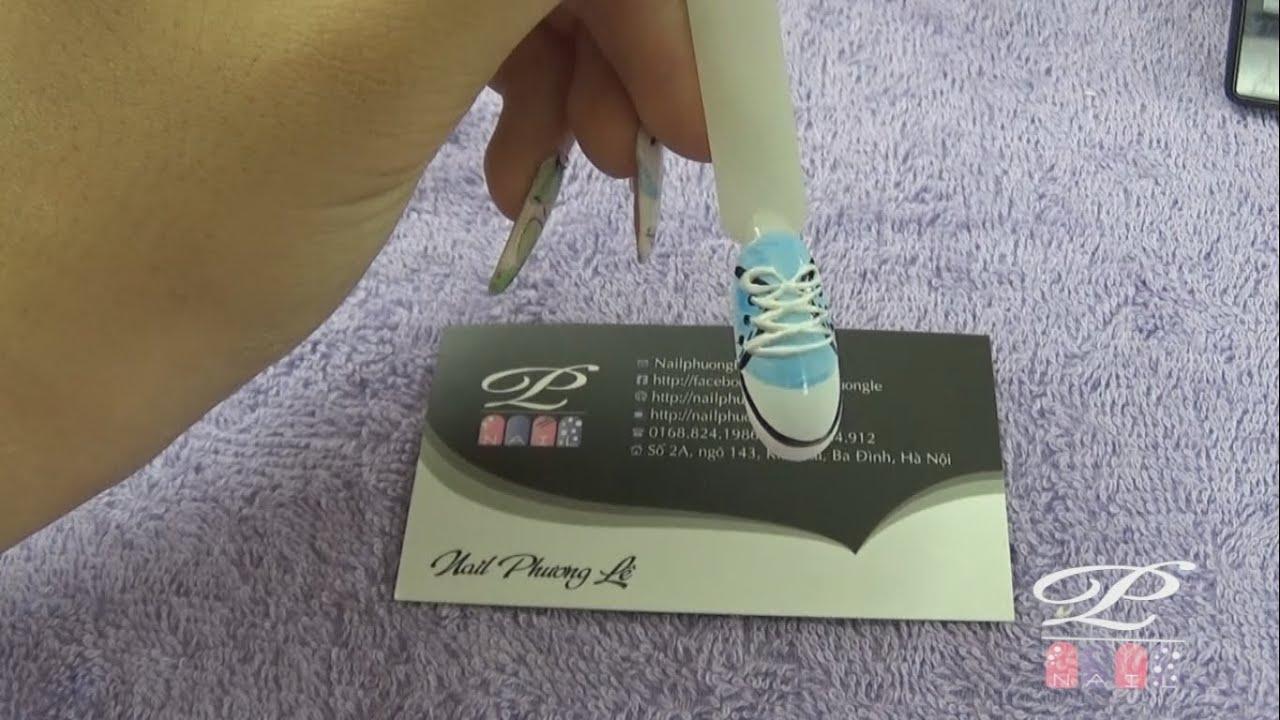 Thực hành học vẽ gel, Vẽ gel pha lê Nail: Vẽ chiếc giày 3D bằng gel vẽ, gel pha lê lên móng tay