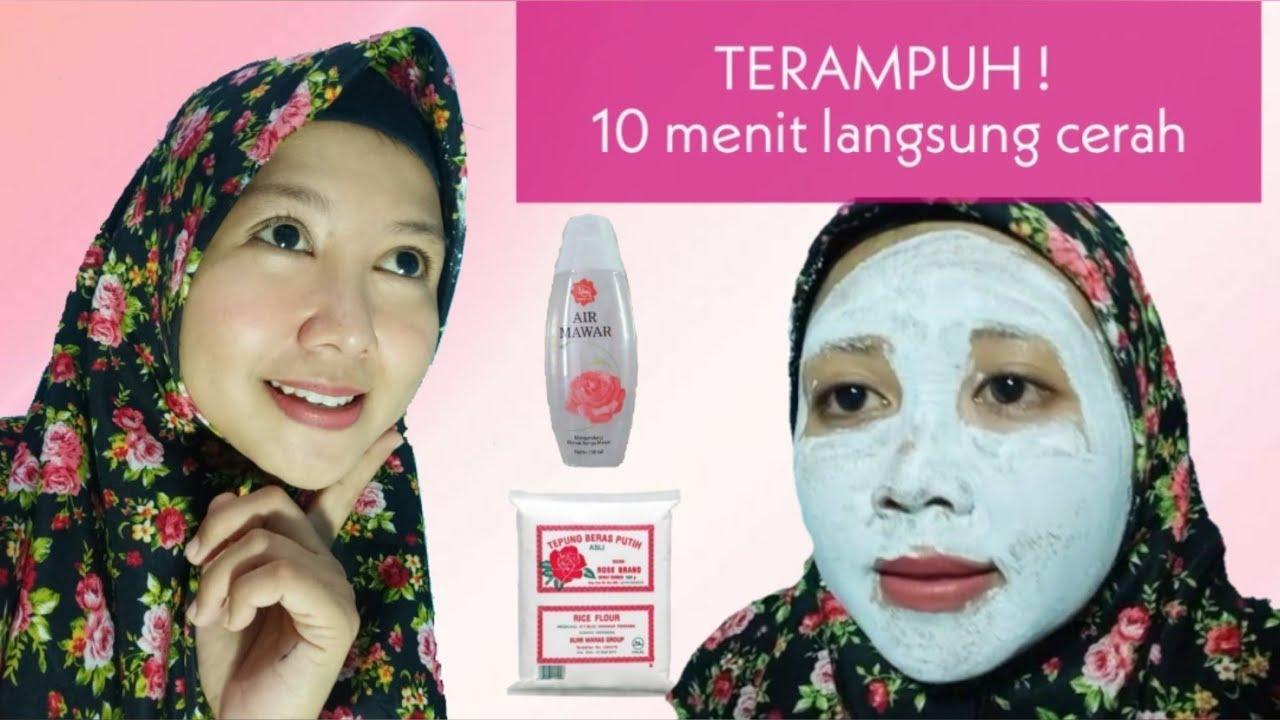 Memutihkan Wajah Secara Cepat Dengan Masker Tepung Beras Dan Air Mawar Putih Permanen Youtube