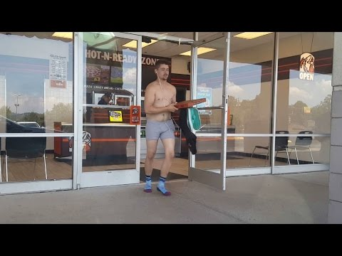 GUY EATS PIZZA NAKED IN LITTLE CAESARS