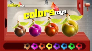 Learn Colors with Fruits Plum WOODEN FACE HAMMER XYLOPHONE Soccer Balls for Kids #ColorsToysID