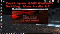Can't open AMD Radeon Setting. How to fix it?