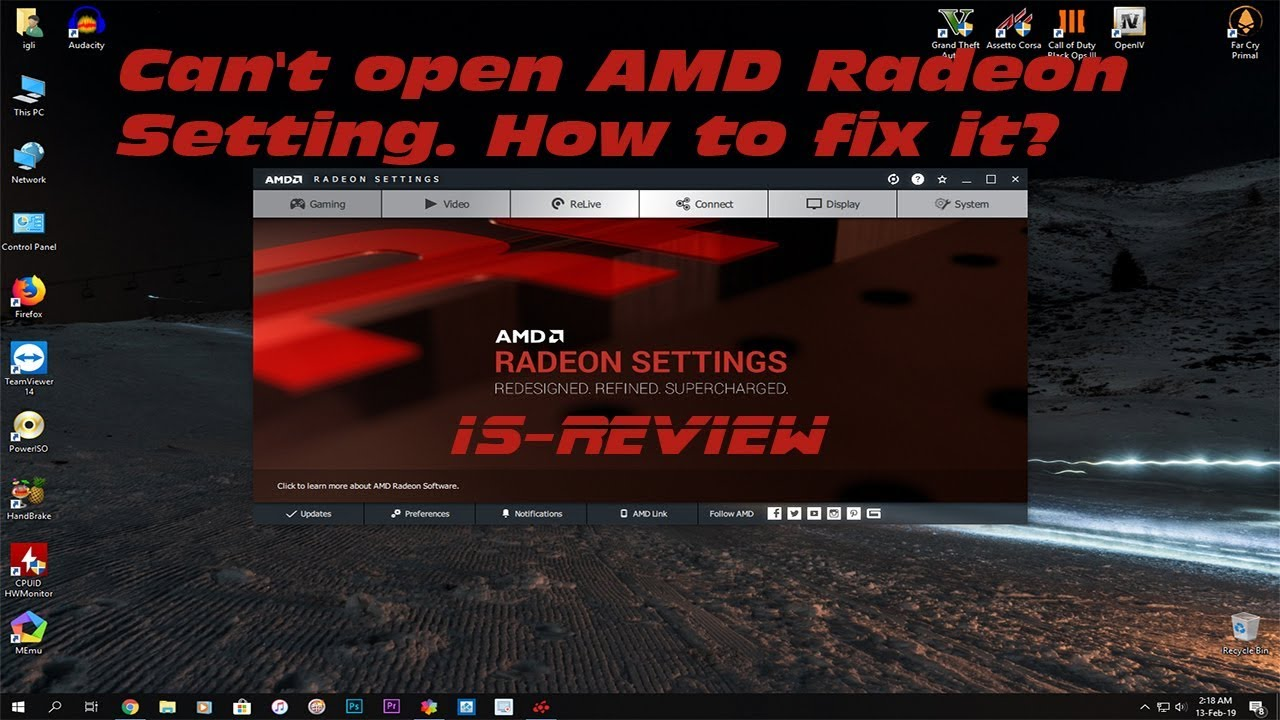 Can't open AMD Radeon Setting  How to fix it?