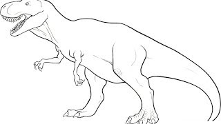 How Draw Dinosaur Rex Simple Lines