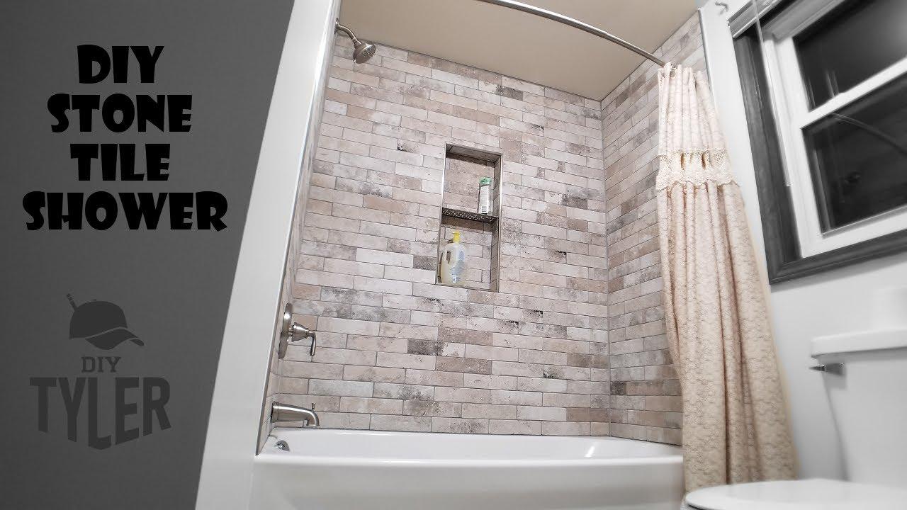 diy tile shower tub insert to stone tile wall shower