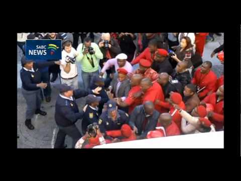 Scuffles between the police and EFF outside Parliament