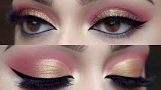 Easiest Soft Pink Golden Eyemakeup